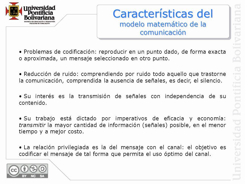 Características del modelo matemático de la comunicación Problemas de codificación: reproducir en un punto dado, de forma exacta o aproximada, un mens