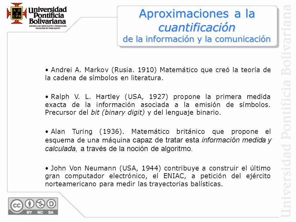 Aproximaciones a la cuantificación de la información y la comunicación Andrei A. Markov (Rusia. 1910) Matemático que creó la teoría de la cadena de sí
