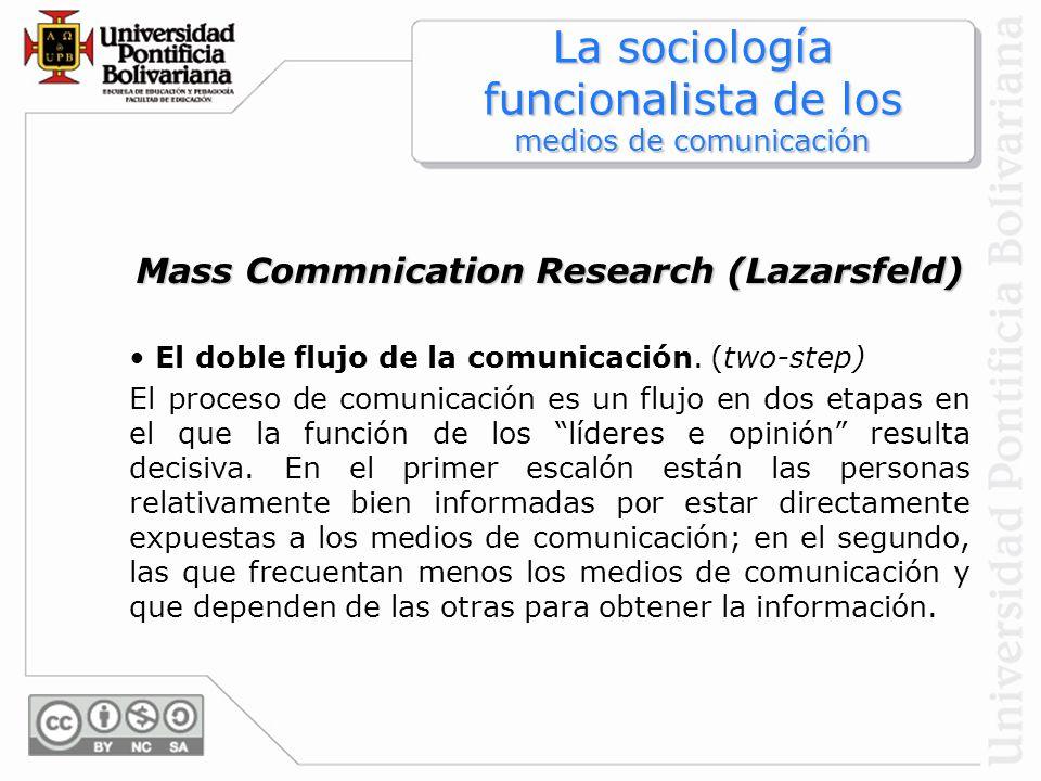 Mass Commnication Research (Lazarsfeld) El doble flujo de la comunicación. (two-step) El proceso de comunicación es un flujo en dos etapas en el que l