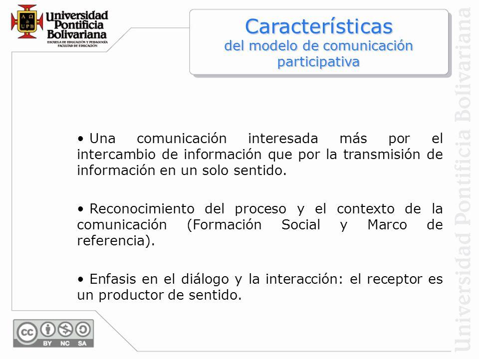 Características del modelo de comunicación participativa Una comunicación interesada más por el intercambio de información que por la transmisión de i