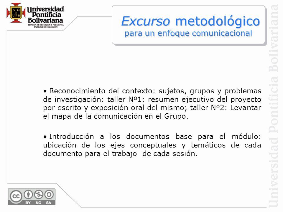 Excurso metodológico para un enfoque comunicacional Excurso metodológico para un enfoque comunicacional Reconocimiento del contexto: sujetos, grupos y