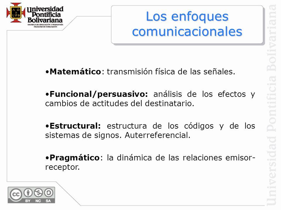Los enfoques comunicacionales Matemático: transmisión física de las señales. Funcional/persuasivo: análisis de los efectos y cambios de actitudes del