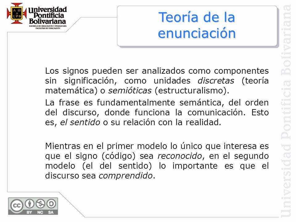 Teoría de la enunciación Los signos pueden ser analizados como componentes sin significación, como unidades discretas (teoría matemática) o semióticas