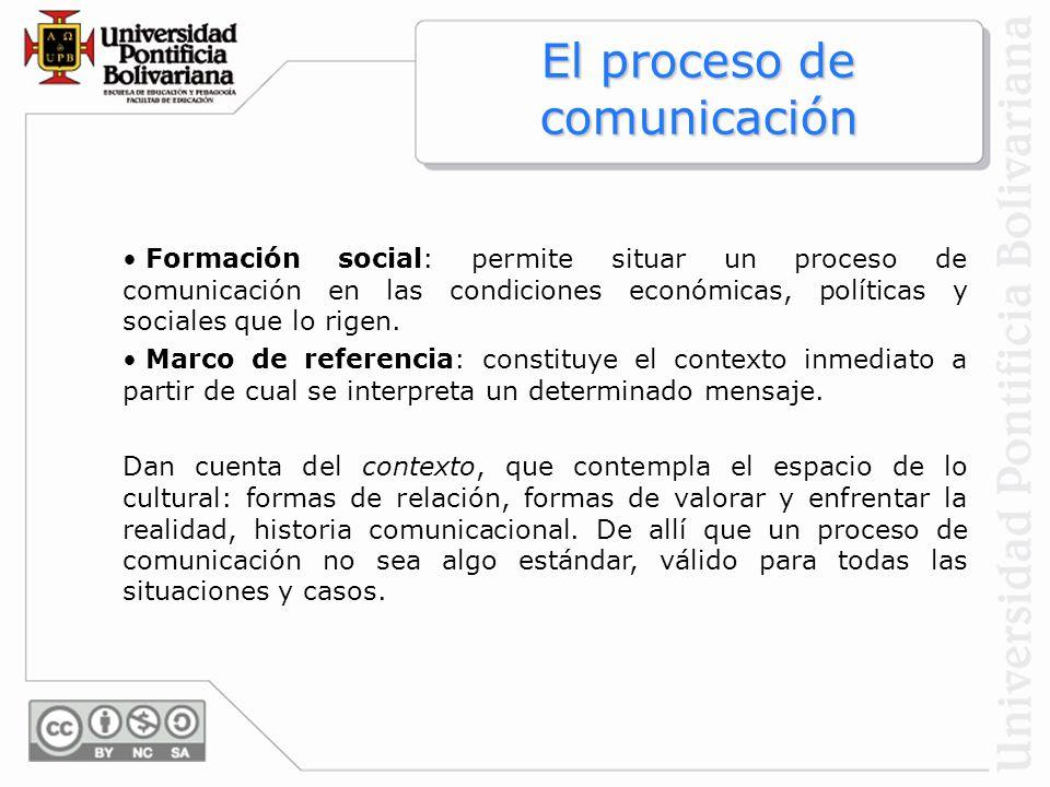 El proceso de comunicación Formación social: permite situar un proceso de comunicación en las condiciones económicas, políticas y sociales que lo rige