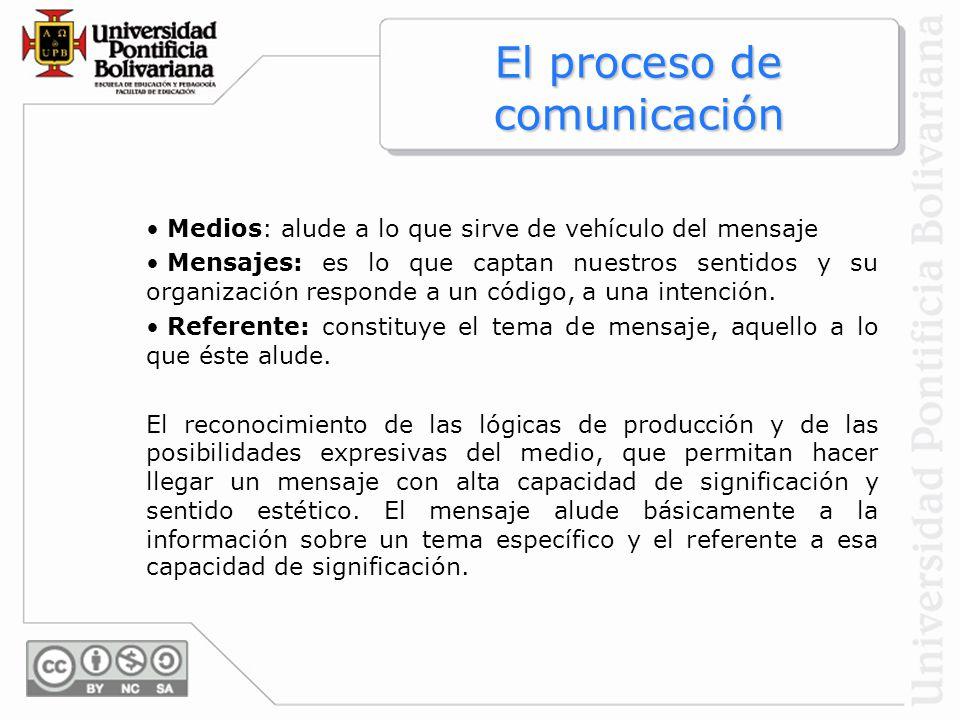 El proceso de comunicación Medios: alude a lo que sirve de vehículo del mensaje Mensajes: es lo que captan nuestros sentidos y su organización respond