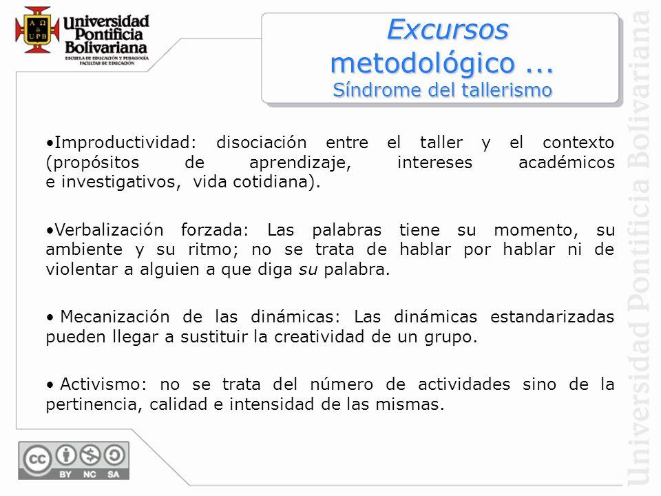 Excursos metodológico... Síndrome del tallerismo Excursos metodológico... Síndrome del tallerismo Improductividad: disociación entre el taller y el co