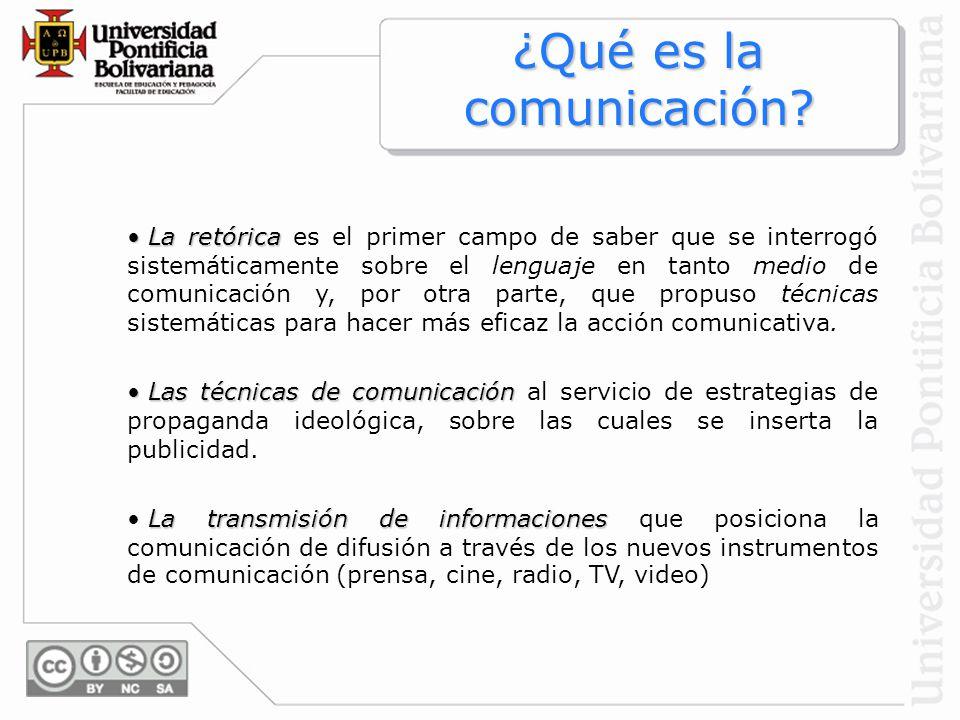 La retórica La retórica es el primer campo de saber que se interrogó sistemáticamente sobre el lenguaje en tanto medio de comunicación y, por otra par