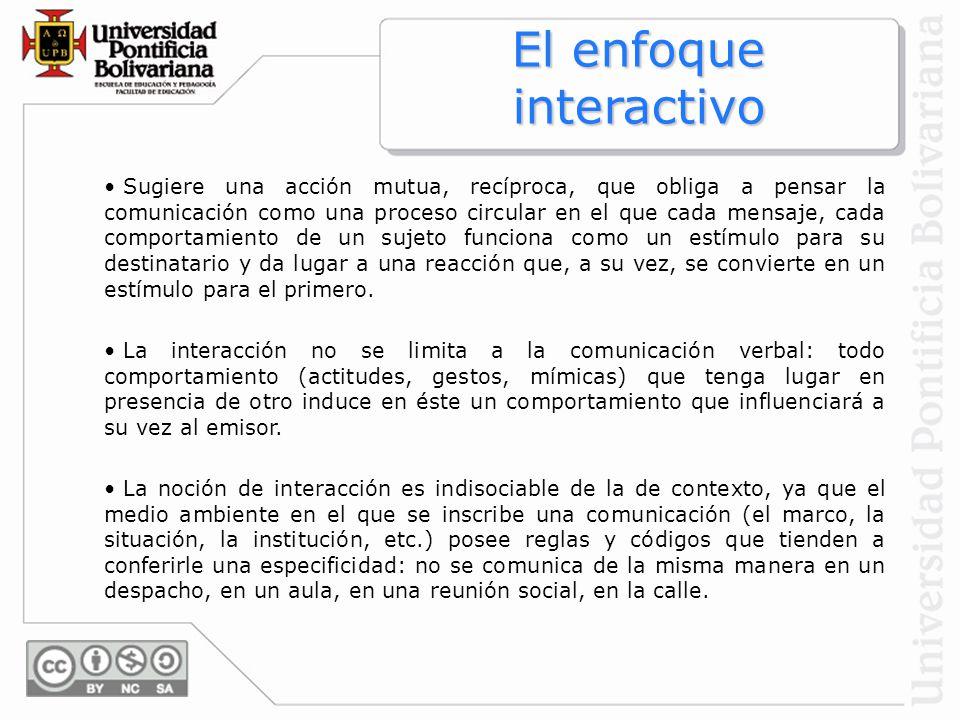 Sugiere una acción mutua, recíproca, que obliga a pensar la comunicación como una proceso circular en el que cada mensaje, cada comportamiento de un s