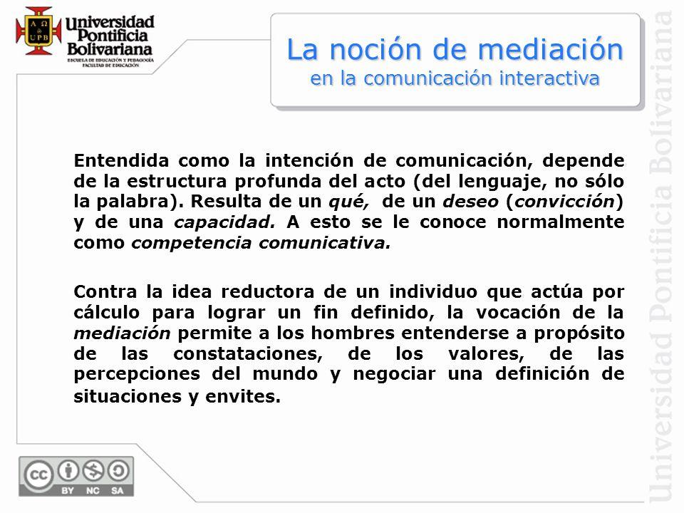 Entendida como la intención de comunicación, depende de la estructura profunda del acto (del lenguaje, no sólo la palabra). Resulta de un qué, de un d