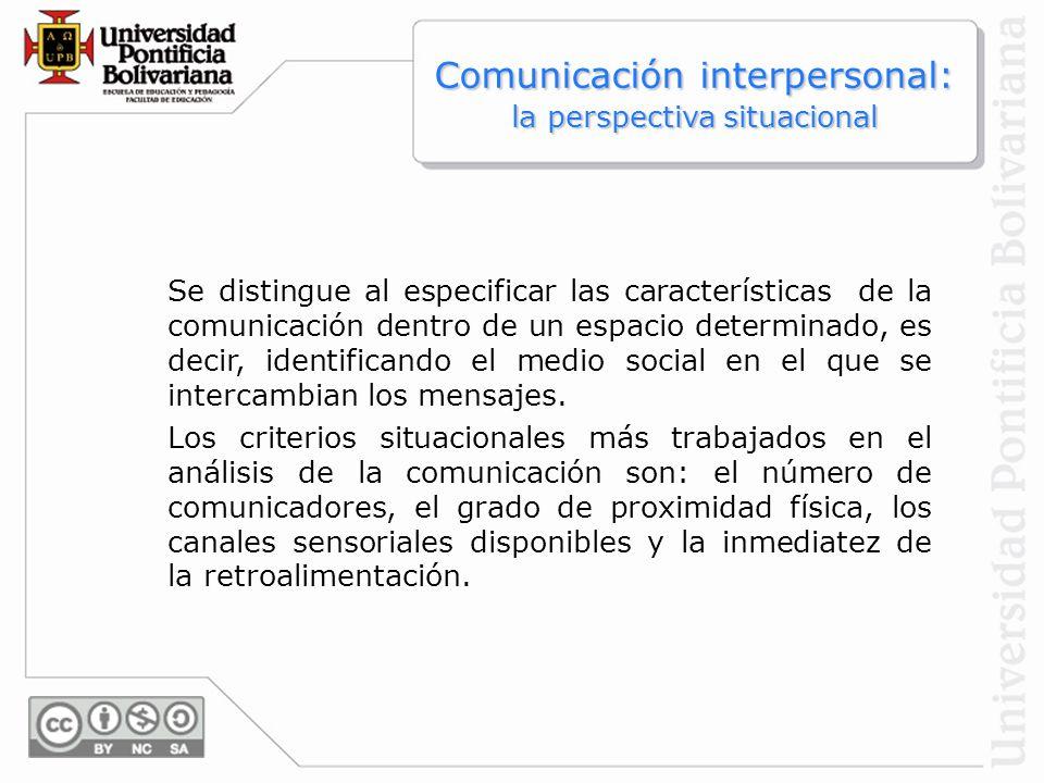 Se distingue al especificar las características de la comunicación dentro de un espacio determinado, es decir, identificando el medio social en el que