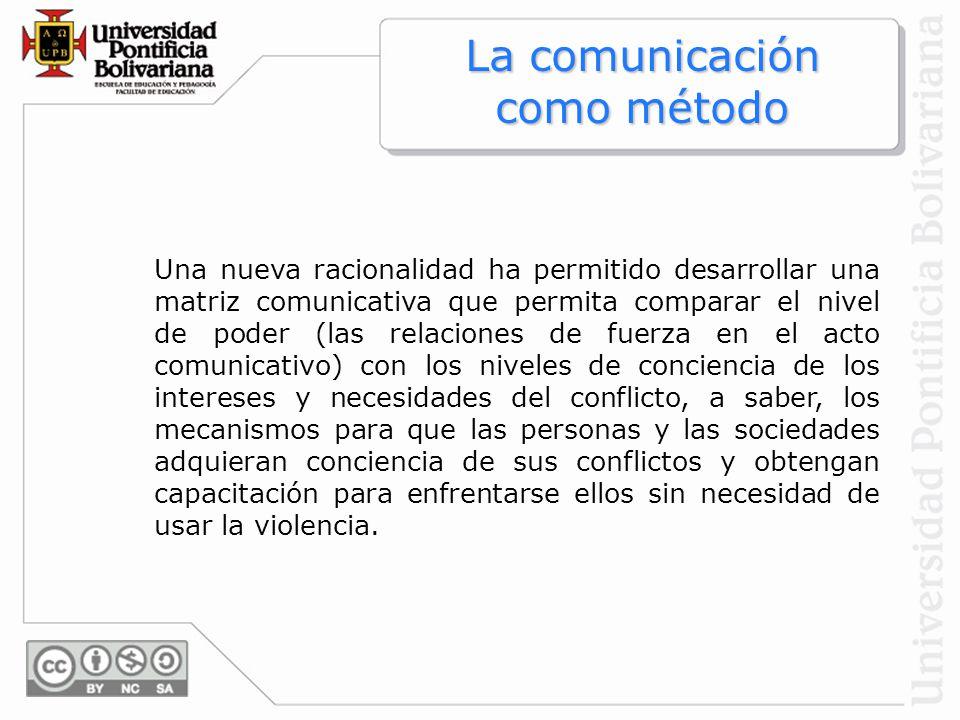 Una nueva racionalidad ha permitido desarrollar una matriz comunicativa que permita comparar el nivel de poder (las relaciones de fuerza en el acto co