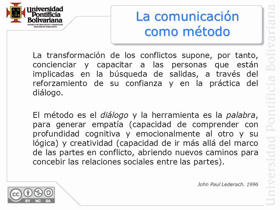 John Paul Lederach. 1996 La transformación de los conflictos supone, por tanto, concienciar y capacitar a las personas que están implicadas en la búsq