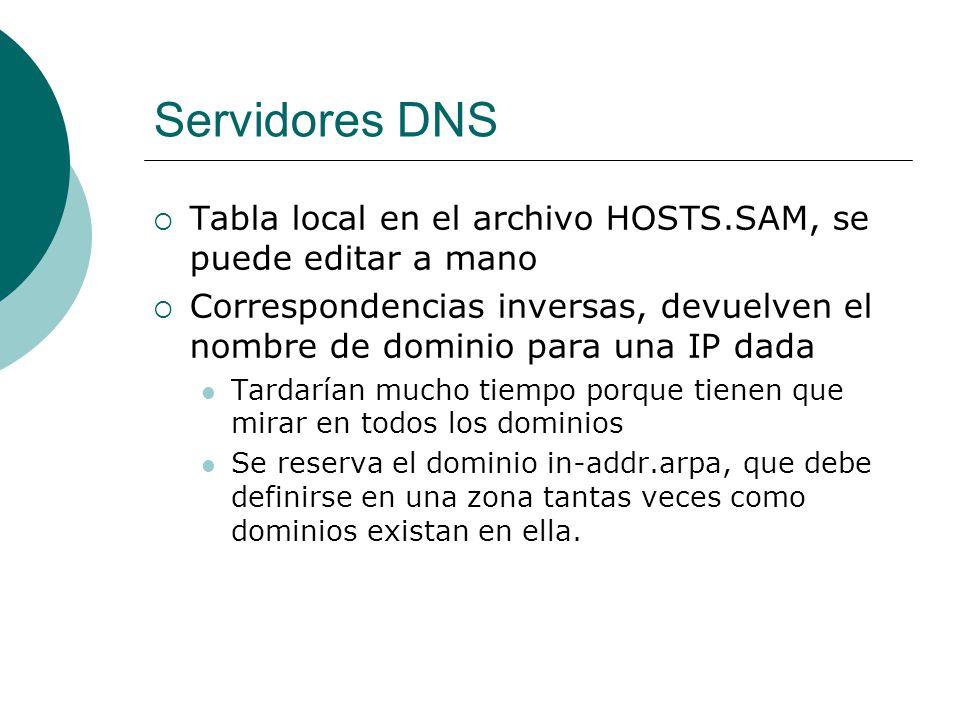Servidores DNS Tabla local en el archivo HOSTS.SAM, se puede editar a mano Correspondencias inversas, devuelven el nombre de dominio para una IP dada