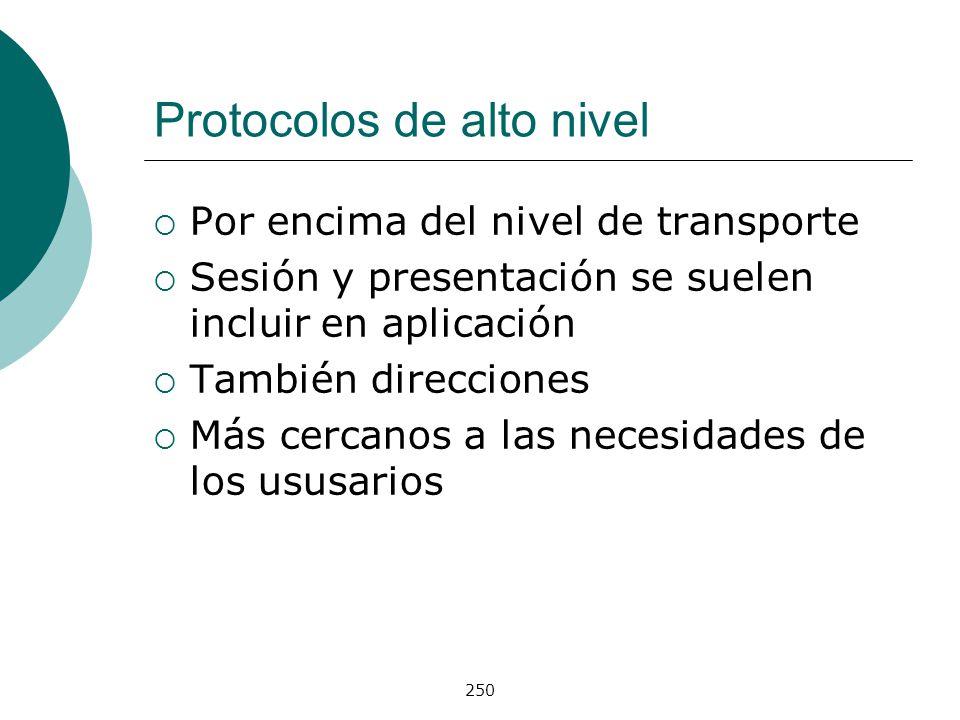 250 Protocolos de alto nivel Por encima del nivel de transporte Sesión y presentación se suelen incluir en aplicación También direcciones Más cercanos
