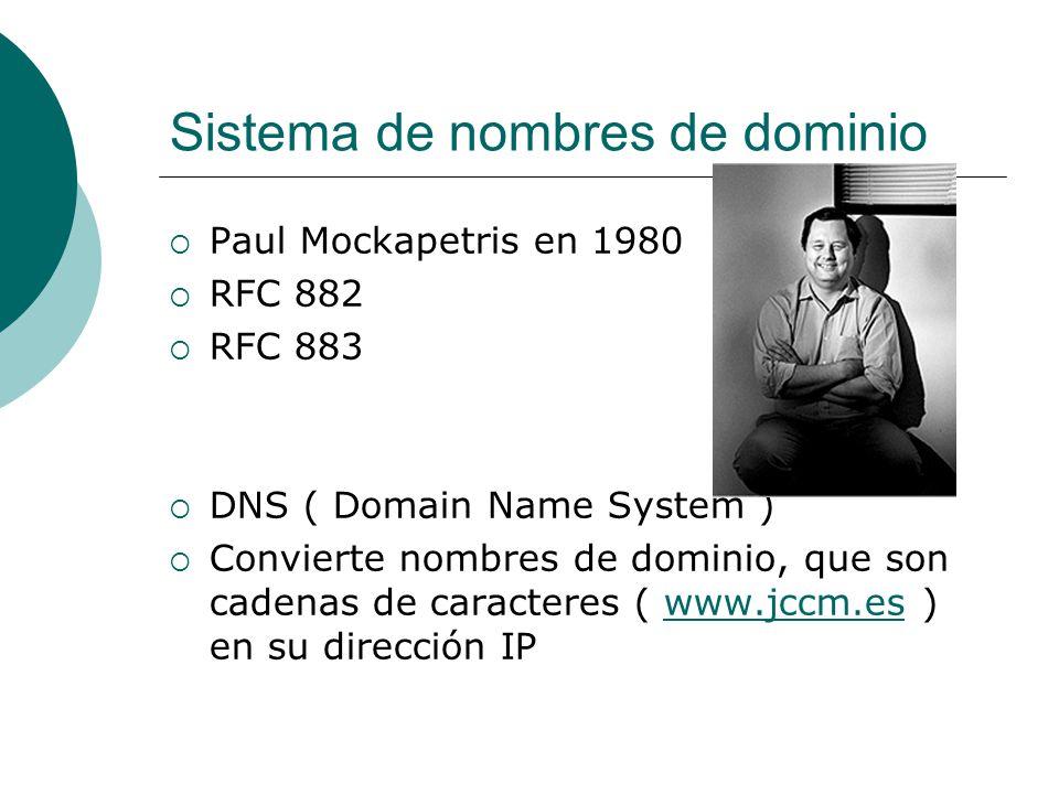 Sistema de nombres de dominio Paul Mockapetris en 1980 RFC 882 RFC 883 DNS ( Domain Name System ) Convierte nombres de dominio, que son cadenas de car
