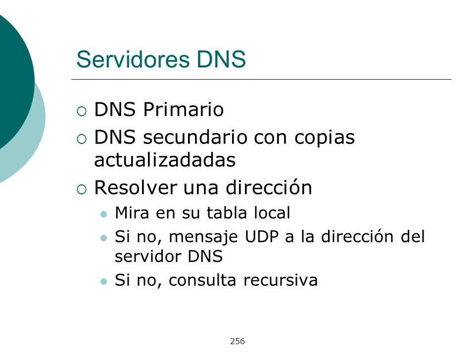 256 Servidores DNS DNS Primario DNS secundario con copias actualizadadas Resolver una dirección Mira en su tabla local Si no, mensaje UDP a la direcci