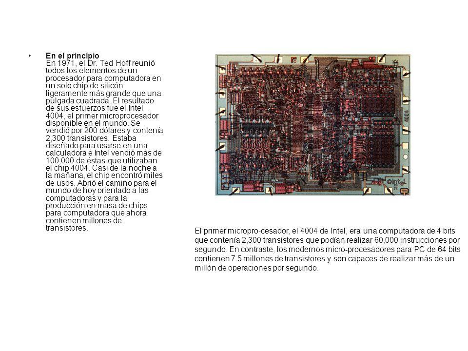 En el principio En 1971, el Dr. Ted Hoff reunió todos los elementos de un procesador para computadora en un solo chip de silicón ligeramente más grand