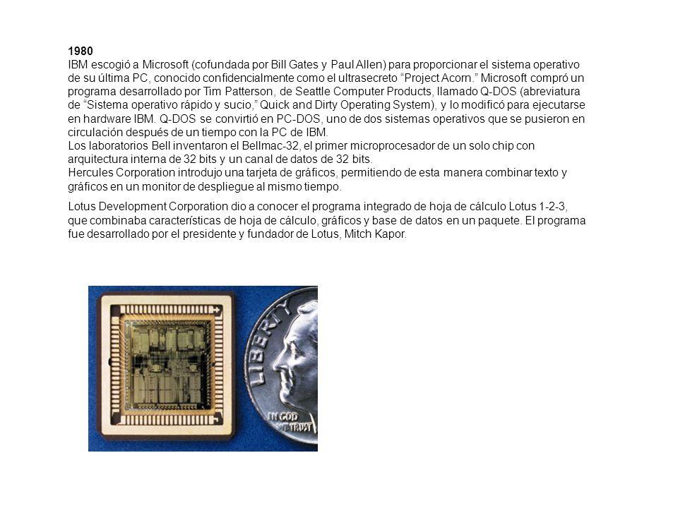 1980 IBM escogió a Microsoft (cofundada por Bill Gates y Paul Allen) para proporcionar el sistema operativo de su última PC, conocido confidencialment