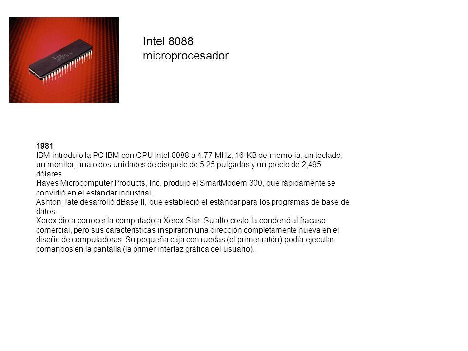 Intel 8088 microprocesador 1981 IBM introdujo la PC IBM con CPU Intel 8088 a 4.77 MHz, 16 KB de memoria, un teclado, un monitor, una o dos unidades de