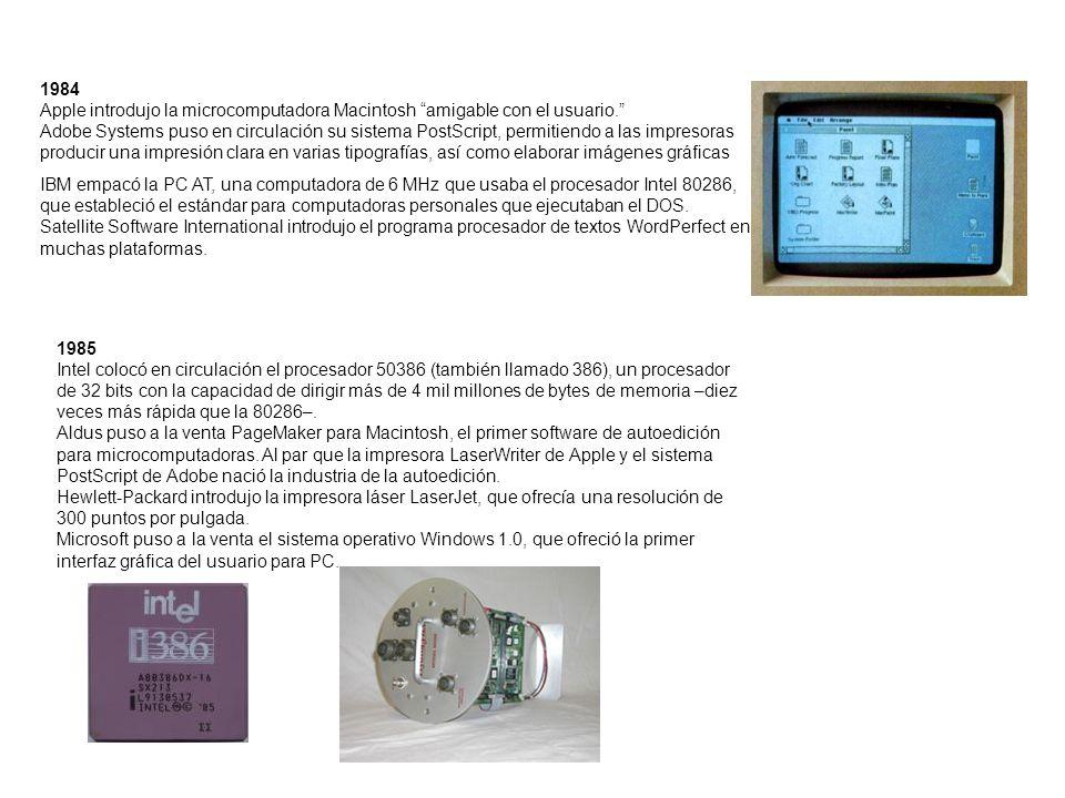 1984 Apple introdujo la microcomputadora Macintosh amigable con el usuario. Adobe Systems puso en circulación su sistema PostScript, permitiendo a las