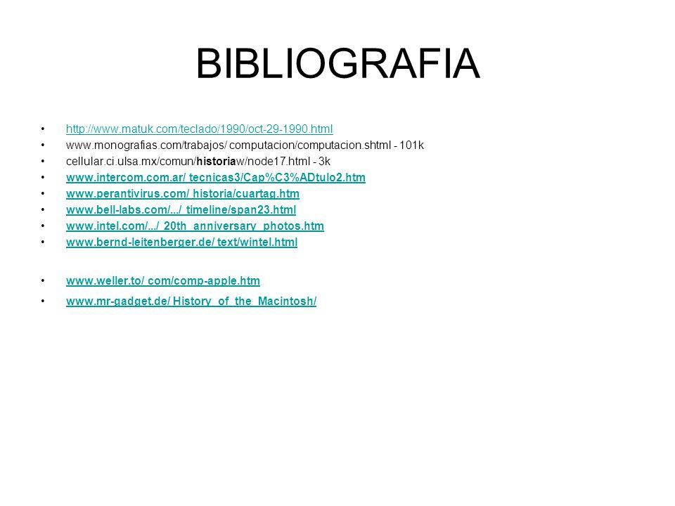 BIBLIOGRAFIA http://www.matuk.com/teclado/1990/oct-29-1990.html www.monografias.com/trabajos/ computacion/computacion.shtml - 101k cellular.ci.ulsa.mx