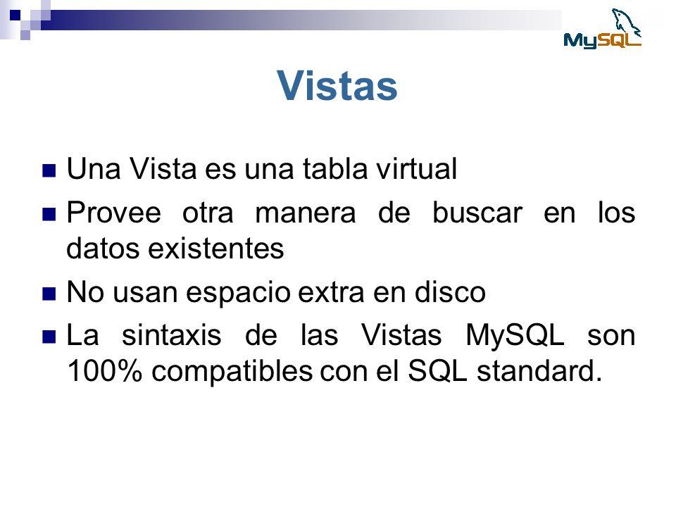Vistas Una Vista es una tabla virtual Provee otra manera de buscar en los datos existentes No usan espacio extra en disco La sintaxis de las Vistas My