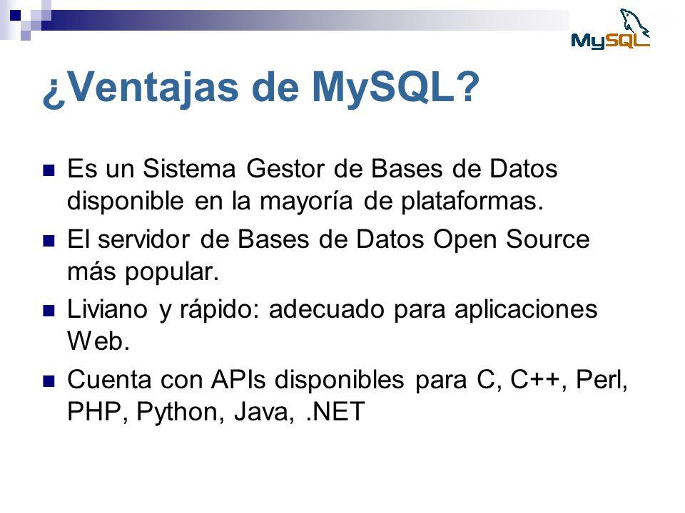 ¿Ventajas de MySQL? Es un Sistema Gestor de Bases de Datos disponible en la mayoría de plataformas. El servidor de Bases de Datos Open Source más popu