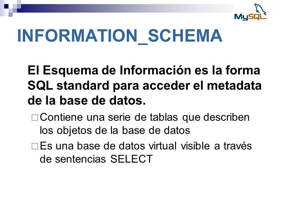 INFORMATION_SCHEMA El Esquema de Información es la forma SQL standard para acceder el metadata de la base de datos. Contiene una serie de tablas que d