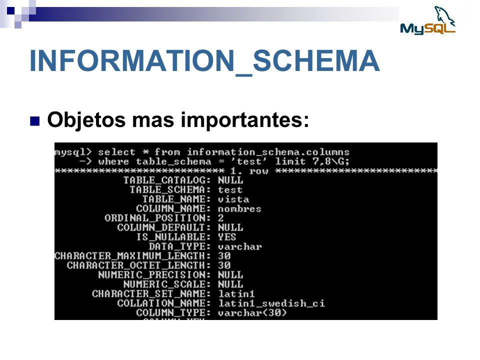 INFORMATION_SCHEMA Objetos mas importantes: