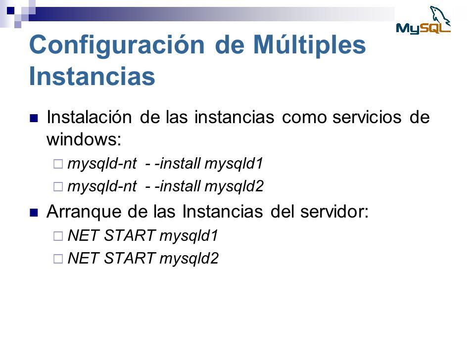 Configuración de Múltiples Instancias Instalación de las instancias como servicios de windows: mysqld-nt - -install mysqld1 mysqld-nt - -install mysql