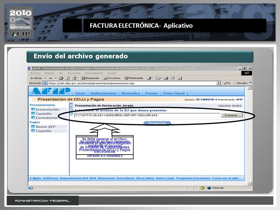 20 Envío del archivo generado Se debe generar el archivo mediante el aplicativo Régimen de Emisión de Comprobantes Electrónicos Versión 4.0 Release 0