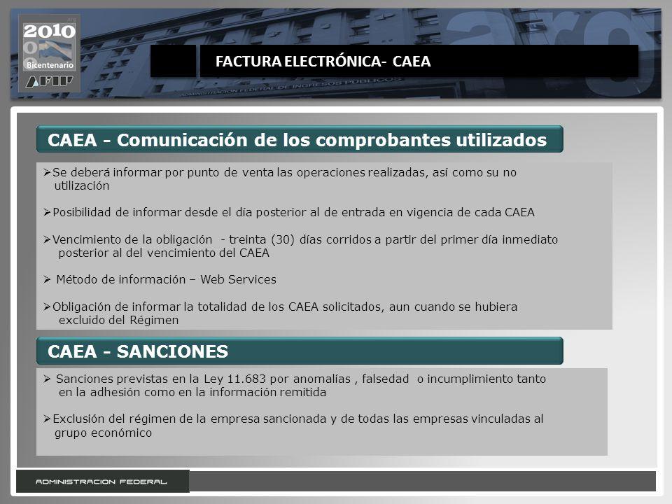 28 CAEA - Comunicación de los comprobantes utilizados Se deberá informar por punto de venta las operaciones realizadas, así como su no utilización Pos