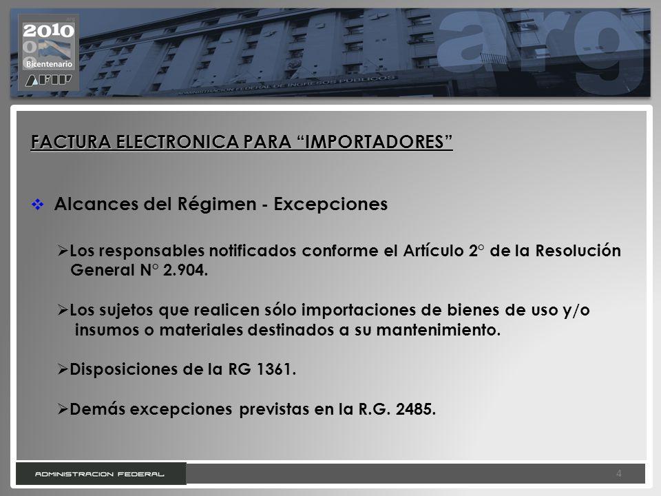 4 4 FACTURA ELECTRONICA PARA IMPORTADORES Alcances del Régimen - Excepciones Los responsables notificados conforme el Artículo 2° de la Resolución Gen