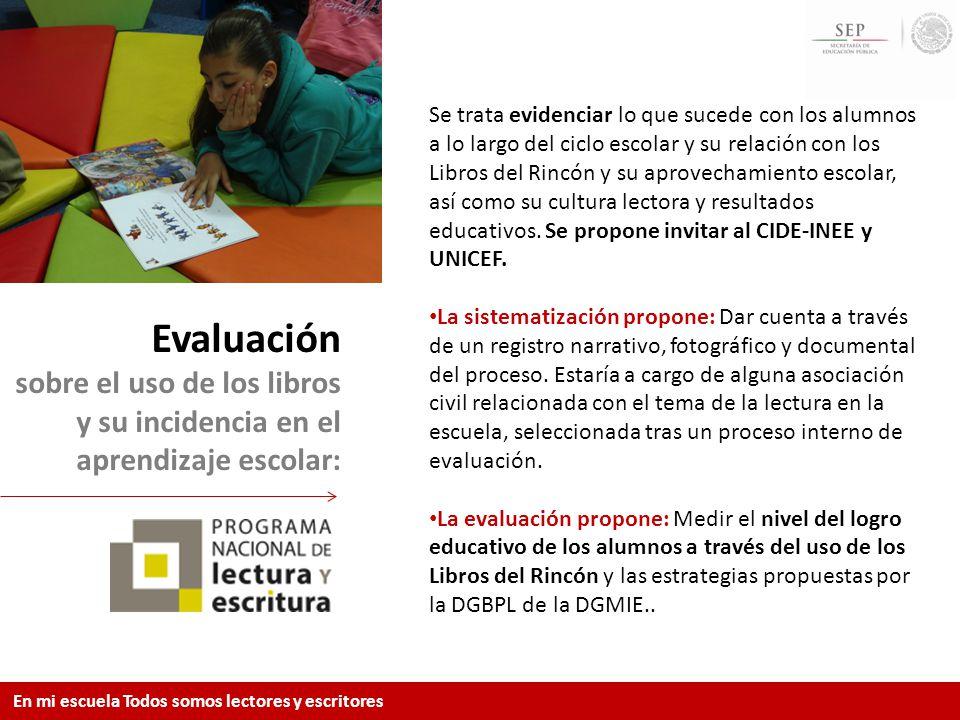 Evaluación sobre el uso de los libros y su incidencia en el aprendizaje escolar: Se trata evidenciar lo que sucede con los alumnos a lo largo del cicl