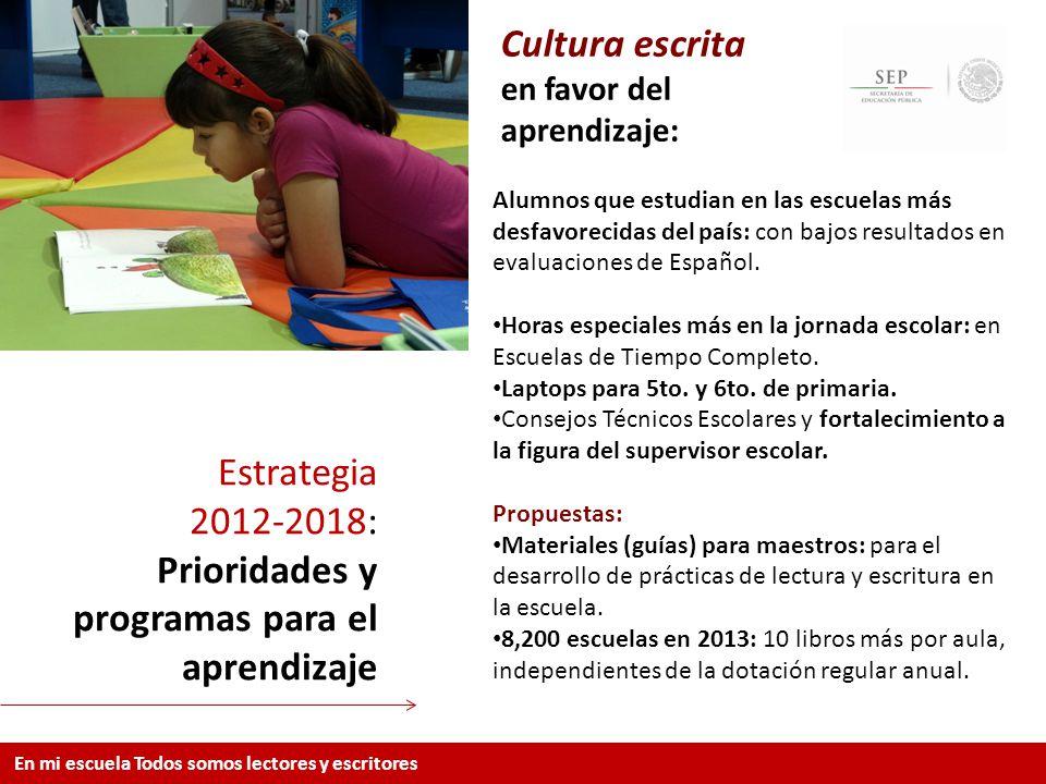 Estrategia 2012-2018: Prioridades y programas para el aprendizaje En mi escuela Todos somos lectores y escritores Cultura escrita en favor del aprendi