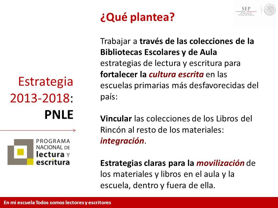 Estrategia 2013-2018: PNLE ¿Qué plantea? Trabajar a través de las colecciones de la Bibliotecas Escolares y de Aula estrategias de lectura y escritura