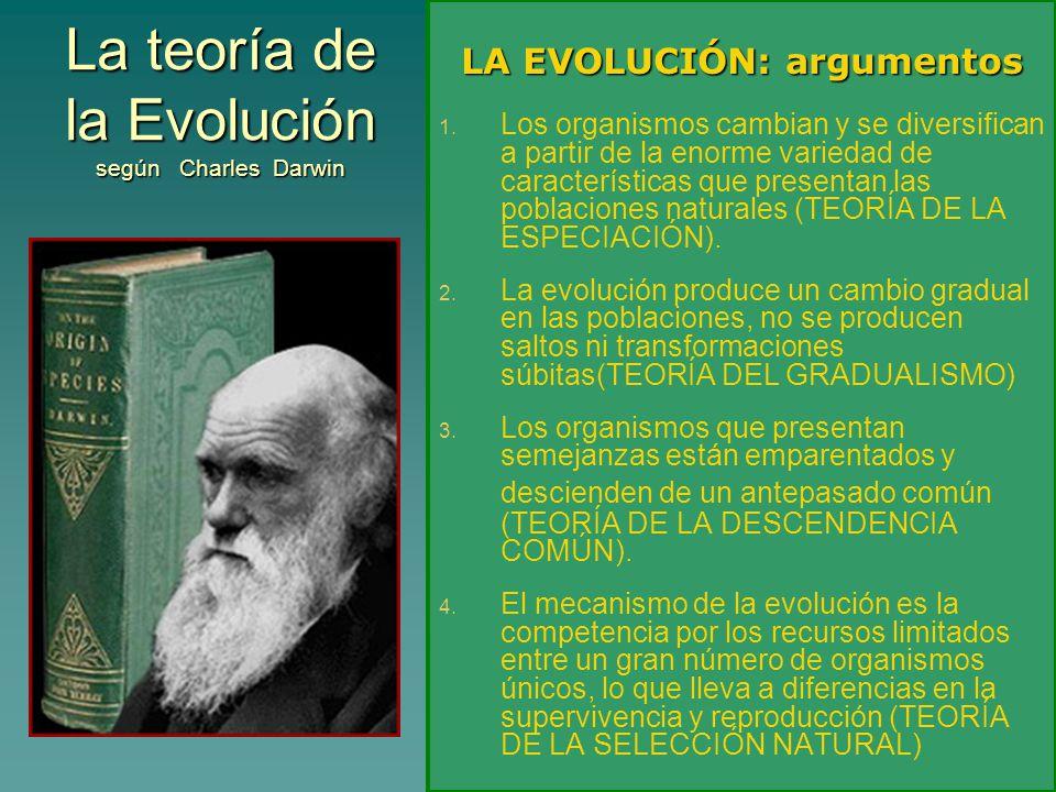 La teoría de la Evolución según Charles Darwin LA EVOLUCIÓN: argumentos 1. 1. Los organismos cambian y se diversifican a partir de la enorme variedad