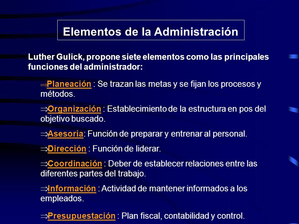 Elementos de la Administración Las funciones del administrador son según Urwick : Planeación Organización Coordinación Dirección Control Investigación Previsión Planeación Urwick: Los elementos de la administracióncontituyen la base de una buena organización.