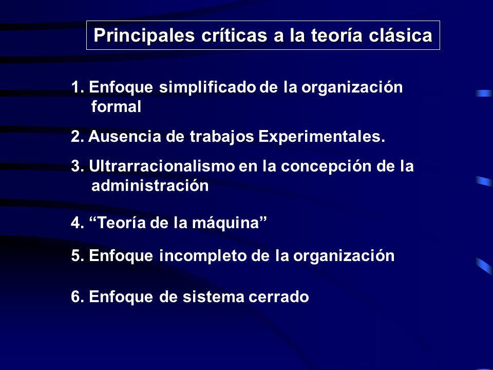 EVALUACION CRITICA DE LA TEORIA CLASICA Las críticas a la teoría clásica son numerosas, contundentes y generalizadas, se preocuparon por señalar las fallas, distorciones y omisiones del enfoque que ésta teoría trabajó y que sirvió como modelo para las organizaciones durante algunas décadas.