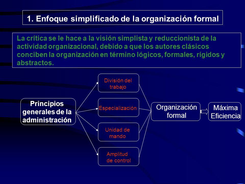1. Enfoque simplificado de la organización formal 2. Ausencia de trabajos Experimentales. 3. Ultrarracionalismo en la concepción de la administración