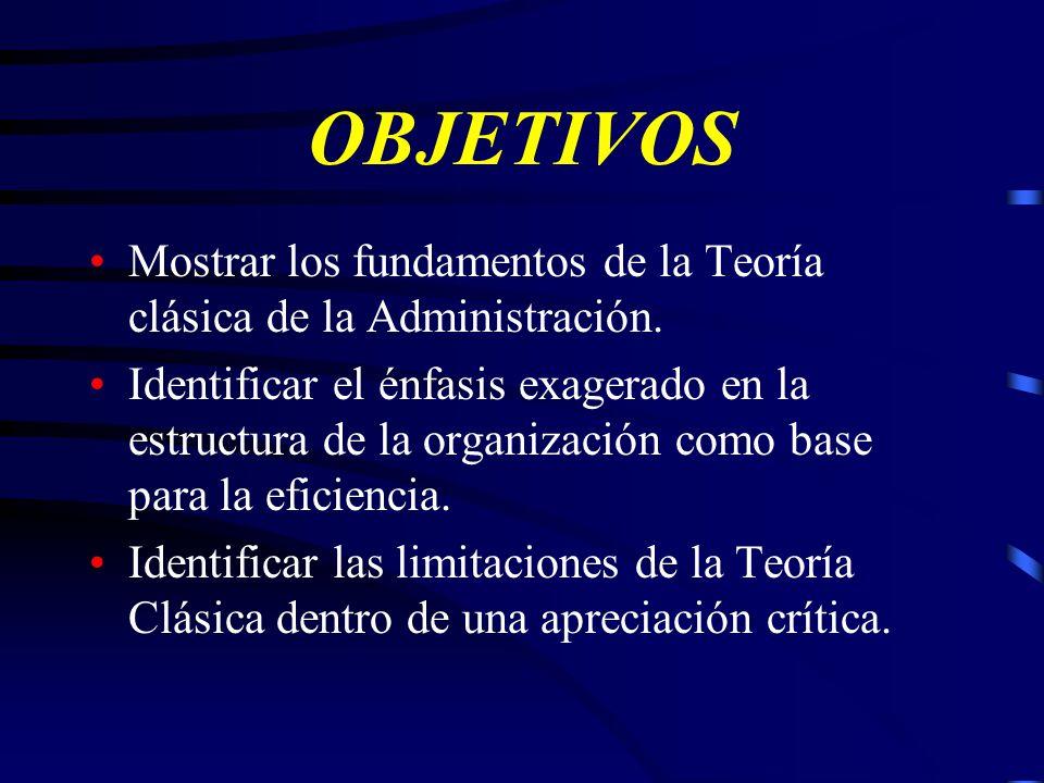 Teoría de la Organización Cadena de Mando y Cadena Escalar de Fayol La teoría clásica concibe la organización en términos de estructura, forma y disposición de las partes que la constituyen, además de la interrelación entre esas partes, siendo por tanto estática y limitada.