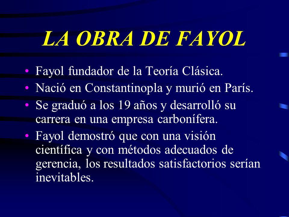 LA OBRA DE FAYOL Fayol fundador de la Teoría Clásica.