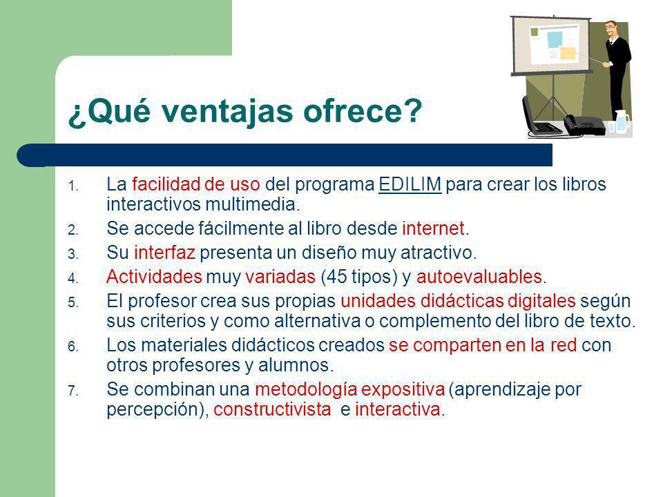 ¿Qué ventajas ofrece? 1. La facilidad de uso del programa EDILIM para crear los libros interactivos multimedia.EDILIM 2. Se accede fácilmente al libro