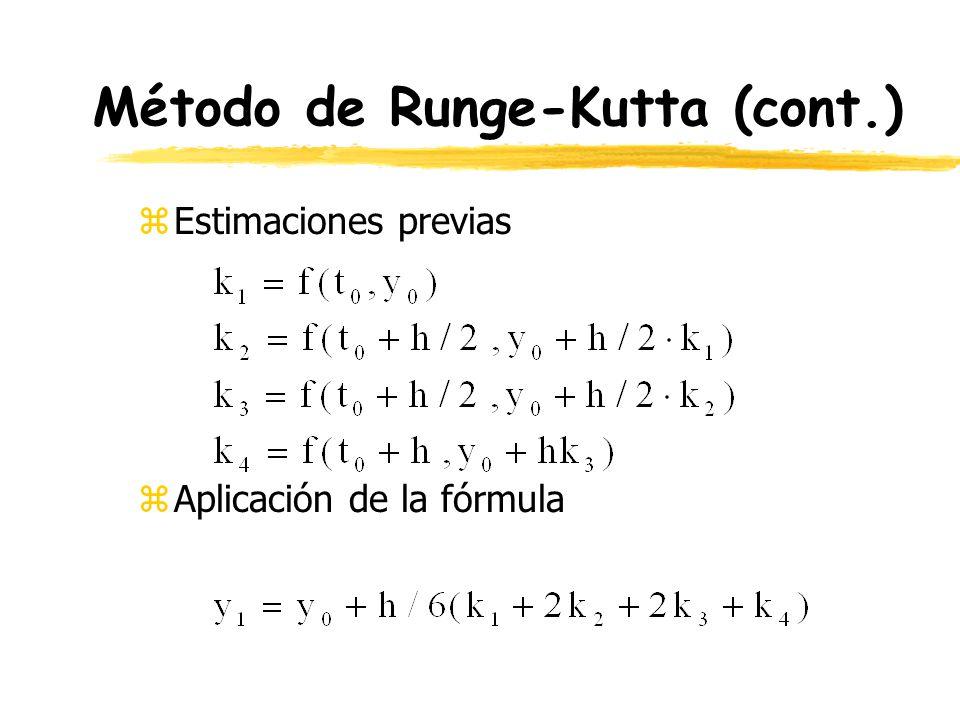 Método de Runge-Kutta (cont.) zEstimaciones previas zAplicación de la fórmula
