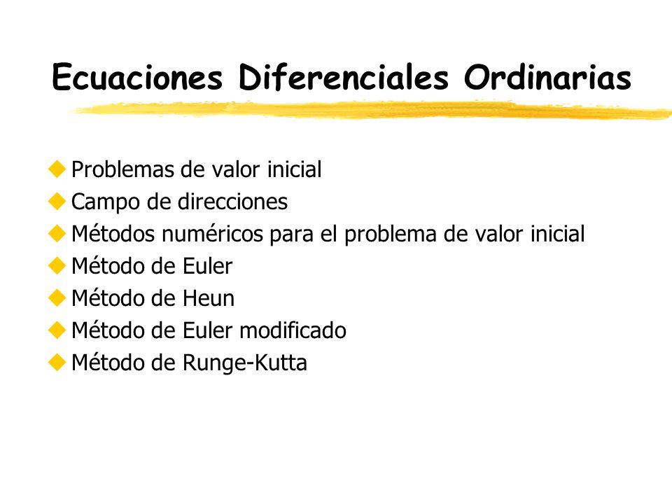 Ecuaciones Diferenciales Ordinarias uProblemas de valor inicial uCampo de direcciones uMétodos numéricos para el problema de valor inicial uMétodo de
