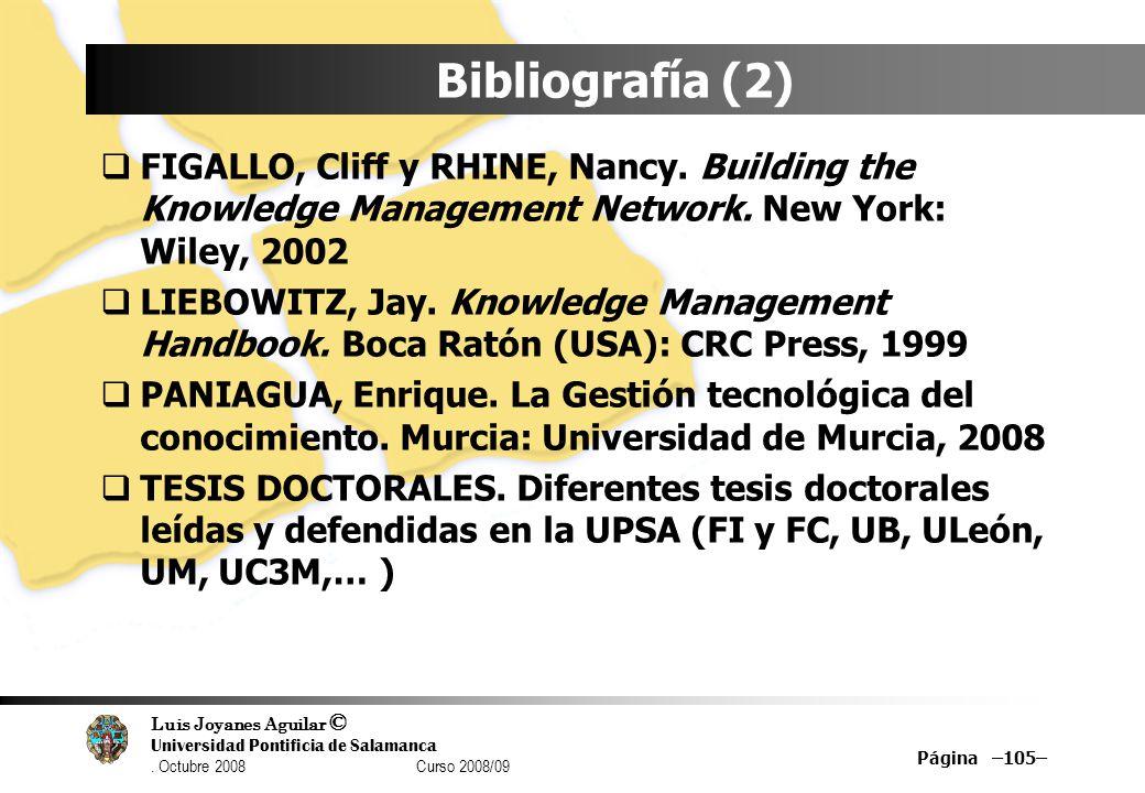 Luis Joyanes Aguilar © Universidad Pontificia de Salamanca. Octubre 2008 Curso 2008/09 Bibliografía (2) FIGALLO, Cliff y RHINE, Nancy. Building the Kn