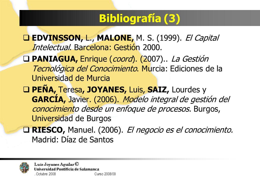 Luis Joyanes Aguilar © Universidad Pontificia de Salamanca. Octubre 2008 Curso 2008/09 Bibliografía (3) EDVINSSON, L., MALONE, M. S. (1999). El Capita
