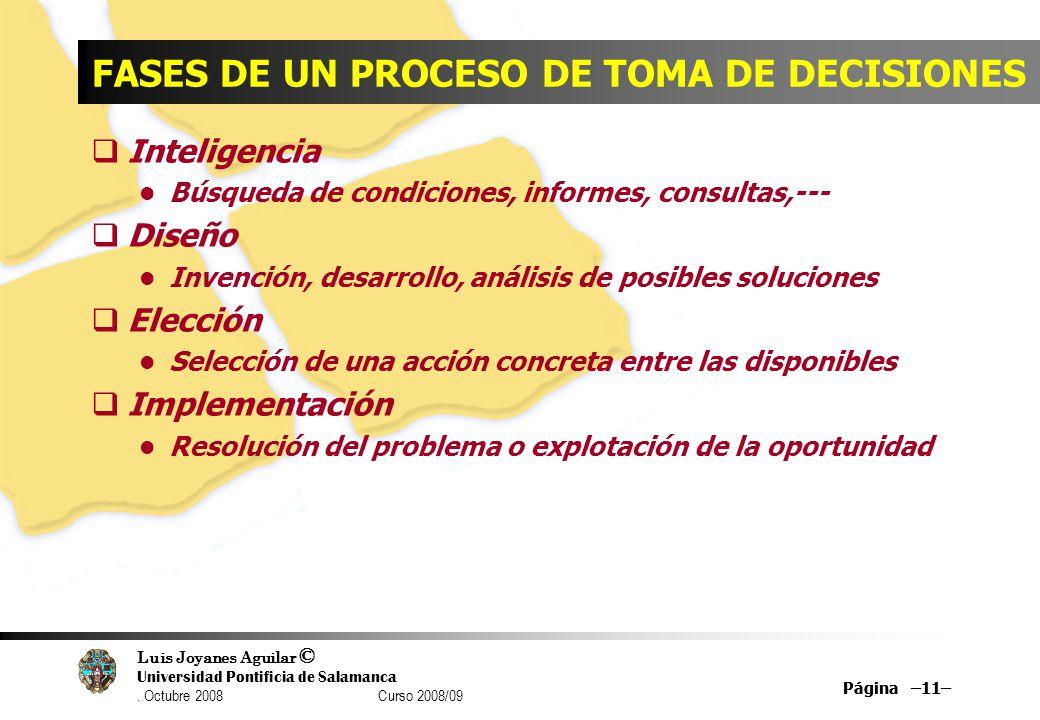 Luis Joyanes Aguilar © Universidad Pontificia de Salamanca. Octubre 2008 Curso 2008/09 Página –11– FASES DE UN PROCESO DE TOMA DE DECISIONES Inteligen
