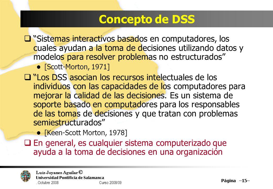 Luis Joyanes Aguilar © Universidad Pontificia de Salamanca. Octubre 2008 Curso 2008/09 Página –15– Concepto de DSS Sistemas interactivos basados en co