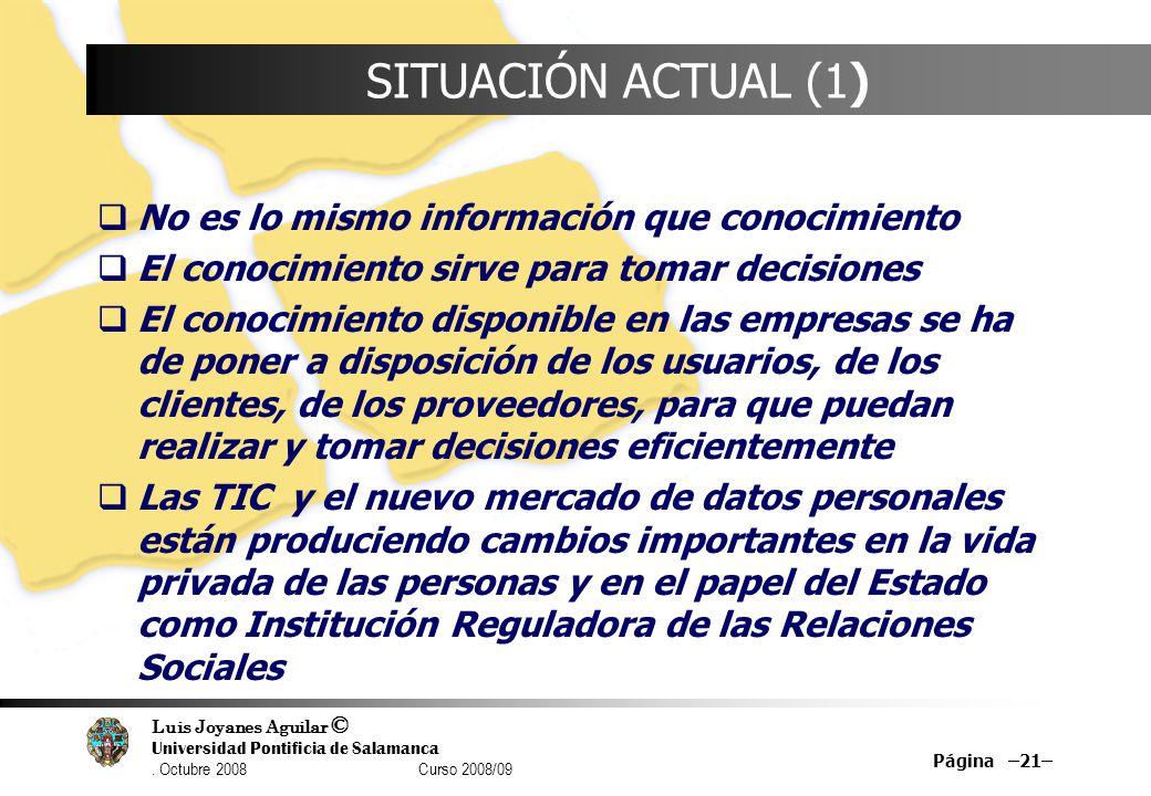 Luis Joyanes Aguilar © Universidad Pontificia de Salamanca. Octubre 2008 Curso 2008/09 Página –21– SITUACIÓN ACTUAL (1) No es lo mismo información que